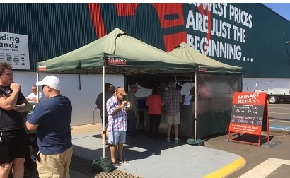 Sausage sizzle and bunnings